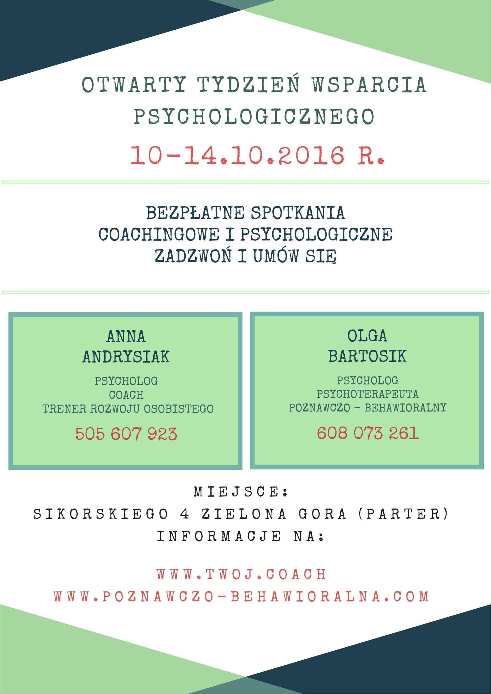 psychoterapia zielona góra - otwarty tydzień